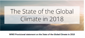 Cover of the WHO provisional statement on the state of the global climate in 2018