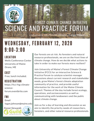Picture of poster advertising forest climate change science and practice forum