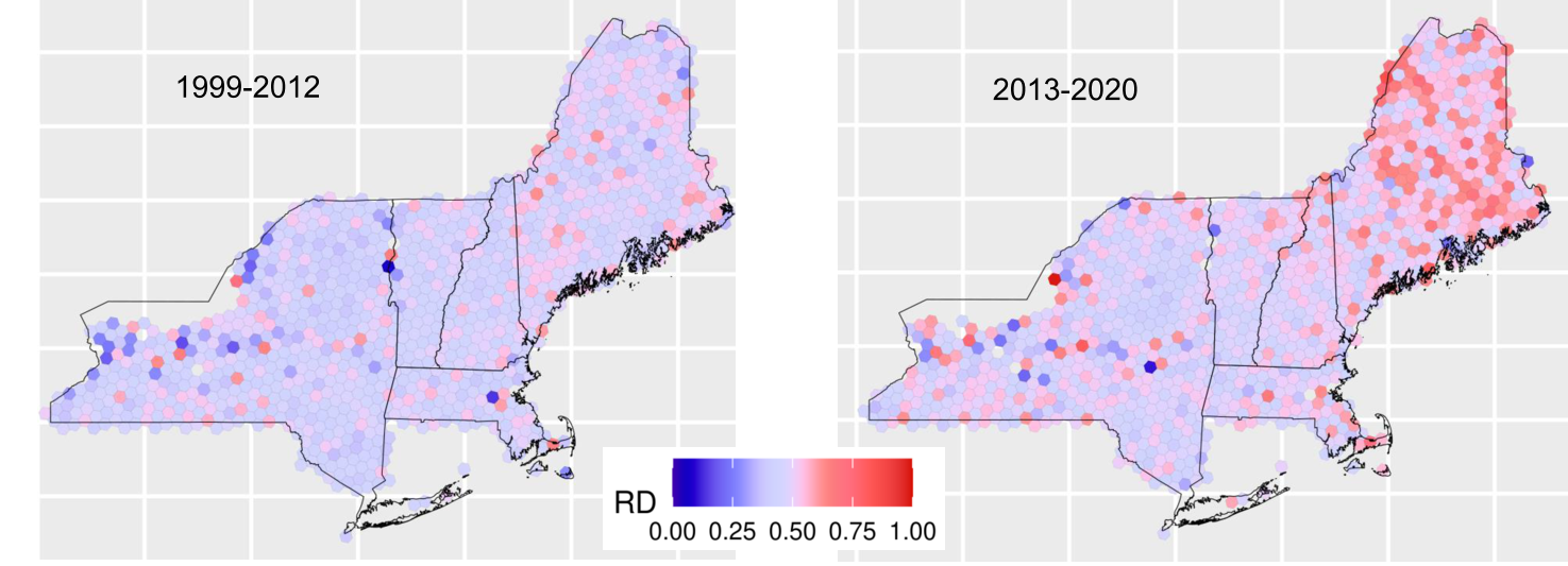 Figures depict shift in density of Maine's forests from 1999-2020.